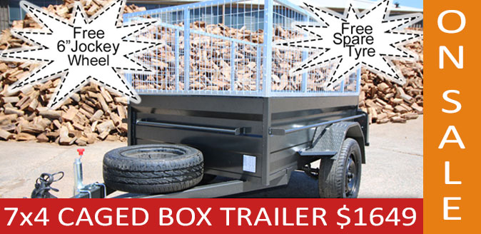 7x4 Commercial Box Trailer with 600mm Galvanised Trailer Cage