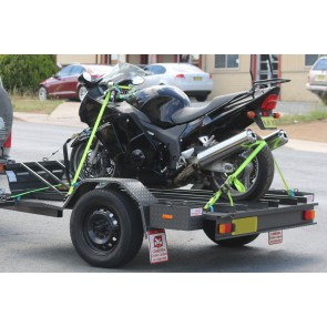 7x5 Motorcycle Trailer - 3 Bike Open, Full Checker Plate Floor