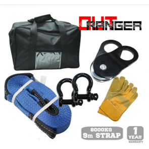 4WD 4X4 Off-Road Winch Recovery Kit - 2x Bow Shackles, Snatch Straps & Block, Gloves & Bag