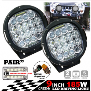 "2x 9"" 185w Cree LED Driving Lights Spot Beam"