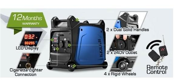 Ezy-Gen Remote Start 3.5kw Inverter Generator