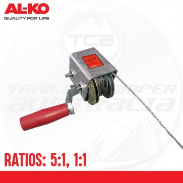 ALKO Premium Cable Winch 700kg Capacity - 5:1 & 1:1 - 5mm x 6 Meter Cable