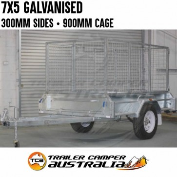7x5 Galvanised Box Trailer 300mm Deep Sides & 900mm Cage