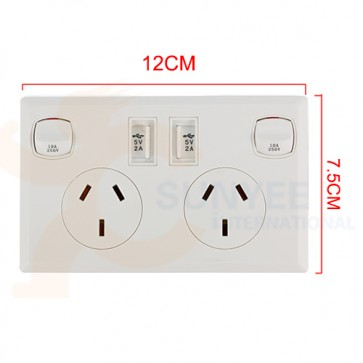 Australian Dual 10A Wall Plug with USB Charging Ports