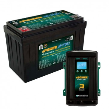 Enerdrive ePOWER B-TEC 12V 100Ah Lithium Battery + 40A AC Charger COMBO
