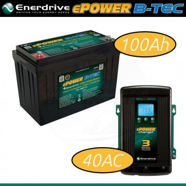 Enerdrive 12V 100Ah Lithium Battery + 40A AC Charger COMBO