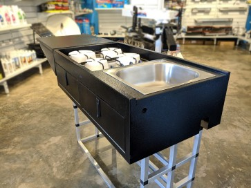Tailgate Mountable Fold out Trailer Kitchen with 4 Burner Gas Stove
