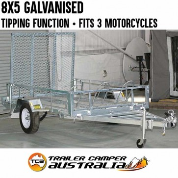 8x5 Galvanised Motorcycle ATV Trailer 3 Bike Lightweight