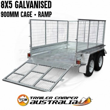 8x5 Galvanised Tandem Trailer with Cage & Ramp