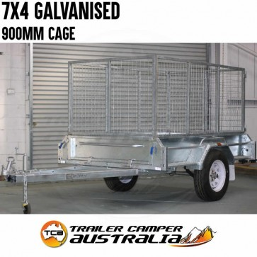 7x4 Galvanised Trailer with 900m Cage