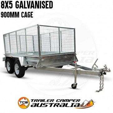 8x5 Galvanised Tandem Box Trailer with 900mm Cage