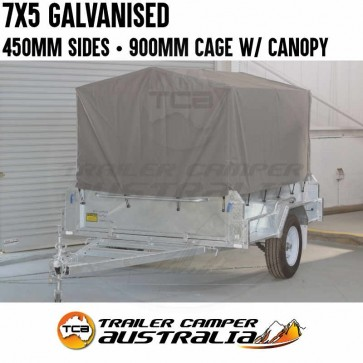 7x5 Galvanised 450mm High Side Trailer 900mm Cage with Canopy