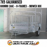 7x5 High Side Galvanised Box Trailer 600mm Cage H-Frames Mower Box