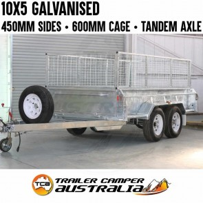 10x5 Galvanised Tandem Axle Box Trailer 450mm Sides & 600mm Mesh Cage