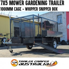 7x5 H/D Mower Trailer with 1000mm Mesh Cage