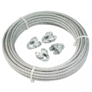 Ark Brake cable & clamps.  8M X 4MM GALVANISED