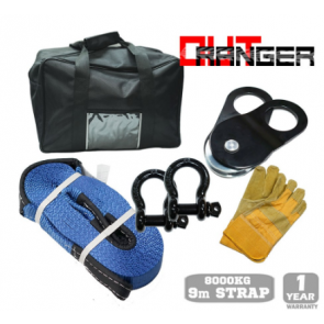 11 Piece Winch Recovery Kit - Bow Shackles, Snatch Straps, Gloves, Snatch Block, Shovel, Damper & Bag