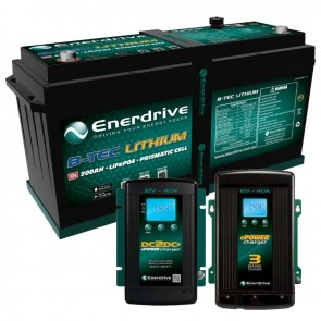 Enerdrive ePOWER 12V 200Ah GEN 2 Lithium Battery + 40A AC & DC2DC Charger COMBO
