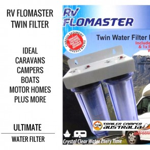 RV Flomaster Twin Water Filter Housing inc 1x Carbon & PP Sediment Water Filters