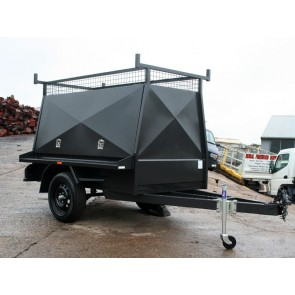 7x4 Tapered Tradesman Enclosed Trailer Side & Rear Swing up Doors