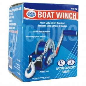 Ark W654W Heavy Duty 4:1 Medium Trailer Boat Winch 650kg rated capacity 50mm x 6m webbing