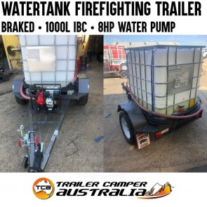 Water Tank Firefighting Trailer with Pump & Hoses Braked 1000L IBC Cart