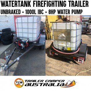 Water Tank Firefighting Trailer with Pump & Hoses Unbraked 1000L IBC Cart